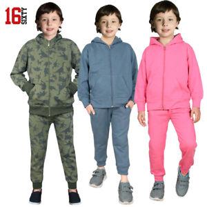 KIDS TRACKSUIT Fleece ZIP UP HOODIE & BOTTOMS JOGGING SUIT AGE 1-14  BOYS/GIRLS