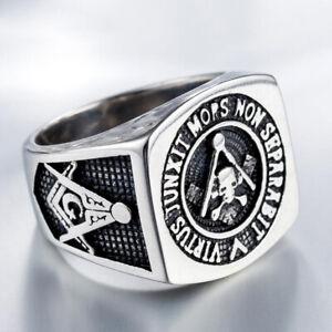 Men's Jewelry Masonic Skull Ring Stainless Steel Freemason Brother Rings Biker