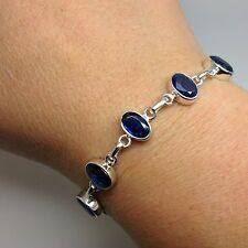 Kyanite gemstone faceted solid Sterling Silver bracelet, new, actual one, 🇬🇧