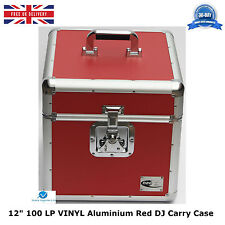 "2 x Almacenamiento de DJ de aluminio rojo Neo Funda De Transporte Para 100 Lp Vinilo 12"" registros Resistente"