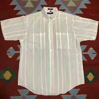 Vintage Christian Dior Short Sleeve Shirt Rainbow Stripe M Monsieur Pastel White