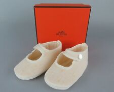 100%Authentic HERMES 100%Linen Baby First Shoes Made In France With Box