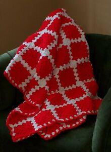 Afgan Throw Blanket Hand Crocheted Granny Square Christmas Holiday