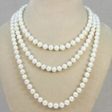 necklace 50 inches long 太阳花扣 Genuine white freshwater cultured pearl 6-7mm