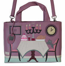 CICCIA CAT TURKEY DINNER PLUM LEATHER GRAB BAG SHOULDER BAG RRP £130