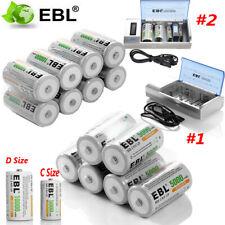 EBL Lot 5000mAh/10000mAh C D Size Cell Rechargeable Batteries / C D Size Charger