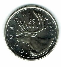 2014 Logo Canadian Brilliant Uncirculated Caribou Twenty Five Cent coin!