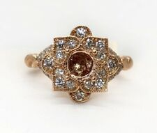 Semi Mount Diamond Engagement Ring 14K Rose Gold Lotus Flower Round Center 5MM