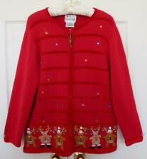 Quacker Factory Christmas Reindeer Cardigan Sweater M Red Embellished Ugly