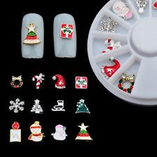 3D Christmas Nail Art Rhinestones Glitter Acrylic Tips Decoration Manicure Wheel