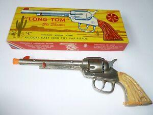 """KILGOR """"LONG TOM"""" Six Shooter TOY CAP GUN with ORIGINAL BOX"""