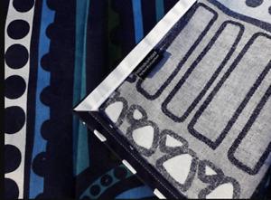 Azul geométrico Corredor de mesa moderno hecho de lana Marimekko njalla
