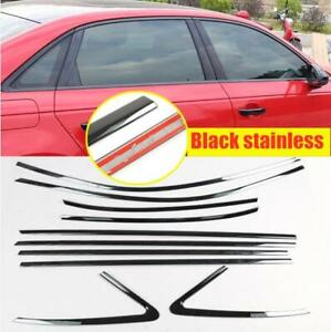 For Audi A3 S3 Sedan 2015-2020 Black stainless Car Window Strip Cover Trim*10