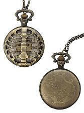 Steam Punk Clock Unisex New Rib Cage Necklace Pendant Burnished
