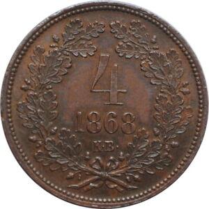"Hungary 4 krajczar 1868 KB, UNC, ""Emperor Franz Joseph I (1848 - 1916)"""