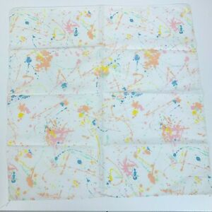 Vintage White Colorful Paint Splatter 80's Made in USA Bandana