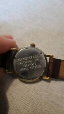 Zenith Swiss Watch 1970s - working, brown strap, personalised engraving.
