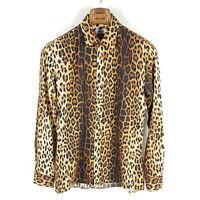 Moschino Slim Fit Hemd Herren Gr. 39 15,5 M Braun Leopard Print Langarm Shirt