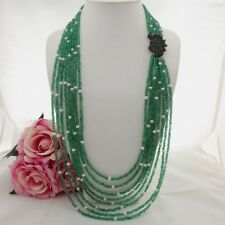 """GE100201 30"""" 8 Strands  Green Agate White Pearl Necklace CZ Pendant"""