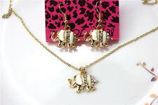 New Betsey Johnson jewelry sets Enamel Elephant pendant earrings necklaces YY813