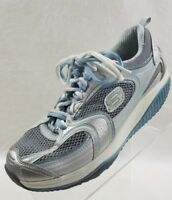Skechers Womens Shape Ups 12320 Blue Gray Leather Lace Up Shoes Size 8.5