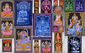 Indian Tapestry Wall Hanging God Ganesh Buddha Shiva Wall Art 100% Cotton