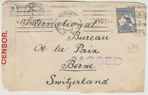 AUSTRALIA 1916 CENSORED cover *MELBOURNE-NTERNATIONAL PEACE BUREAU SWITZERLAND*