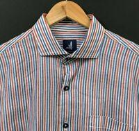 NWT JOHNNIE-O Men's Long Sleeve Button-Front Shirt Red White Blue Stripe sz M