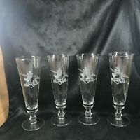 Set of 4 Vintage Etched Glass Budweiser Anheuser Busch Beer Pilsner Glasses