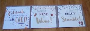 3 x greetings cards 12.5cm x 12.5cm new in packs