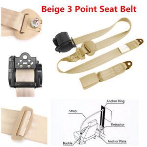 Universal Car 3-Point Safety Retractable Seat Belt Lap & Diagonal Belt Beige