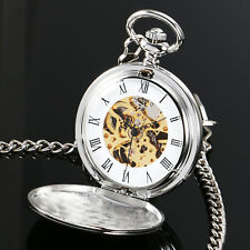 Smooth Mechanical Pocket Watch Full Hunter Manual Hand Winding Silver Case Gift