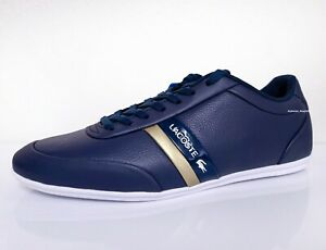 Lacoste Storda 120 1 Men's Casual Leather Loafer Shoes Sneakers Navy Gold