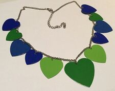 Vintage 80s Love Heart Necklace Choker Kitsch Blue Green Painted Metal Hearts