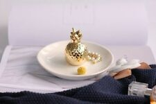 Gold Pineapple Ceramic Trinket Tray Ring Earring Jewellery Display Box Holder