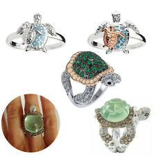 Emerald Ring Turtle Rings Women Wedding Jewelry Finger Engagement Silver