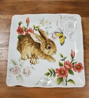 NEW (2) Maxcera Spring Floral Easter Bunny Butterfly Dinner Plates Home Decor