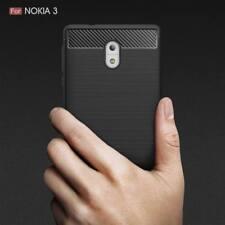 Shockproof Hybrid Fiber Brushed Soft Gel TPU Rubber Case Cover For Nokia 3 Black