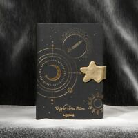 """""""Brilliant Stars"""" Hard Cover Black Journal Student Diary Notepad Notebook Gift"""