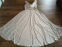 BEAUTIFUL BIBA LONG CHAMPAGNE GRECIAN-STYLE  EVENING BRIDESMAID DRESS, SIZE 16