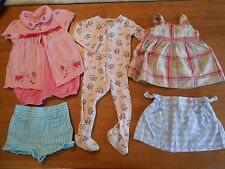 Girls summer outfits shorts shirts sleeper, size 18 mo, lot of 5, flowers #977