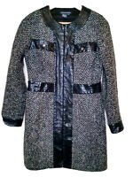 Boston Proper Women's Size 4 Black/Gray Zigzag Full Zip Long Winter Jacket