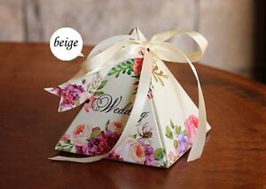 100 Beige Spring Flower Paper Wedding Party Favour Sweet Boxes Bags Ribbons Tags
