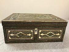 18c or 19c Bone Mother Of pearl Inlaid Box Chest Syrian Moroccan Turkish Ottoman