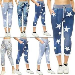 Womens Ladies Floral Print Italian Trousers Casual Magic Jogging Bottoms Pants