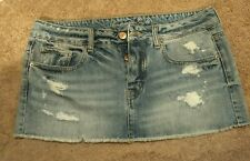 WOMEN'S PRE-OWNED AMERICAN EAGLE SIZE 12. BUTTON UP BLUE JEAN MINI SKIRT