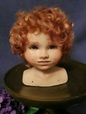 """Vintage Porcelain Bisque 6"""" Doll Head/Bust with Red Hair"""