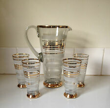 Vintage Set of 4 Art Deco Fine Drinking Glasses & Jug Pick Up Only 3054