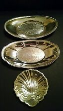 3-pc set - Two Silver Plate Oval Bread Serving Plates & Shell Shaped Butter Dish