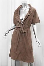 GIAMBATTISTA VALLI Womens Brown Suede Leather Ruffle Collar Jacket Coat 40
